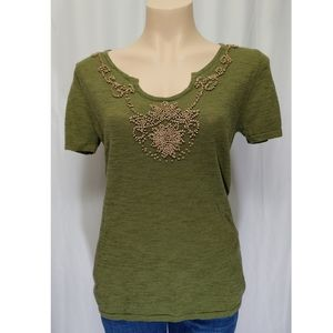 Cable & Gauge Women's Short Sleeve Knit Beaded Top